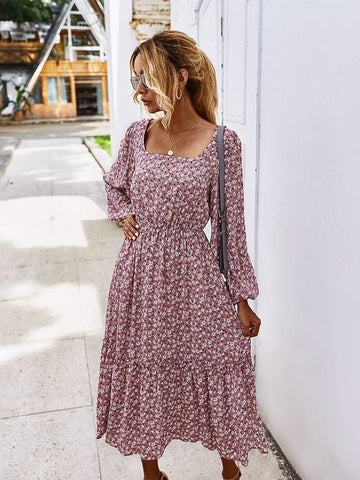 Bella Long Sleeve Boho Dress Dusty Pink