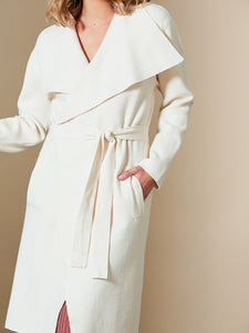 Clarity Wrap Tie Knee Length Cardigan Creme