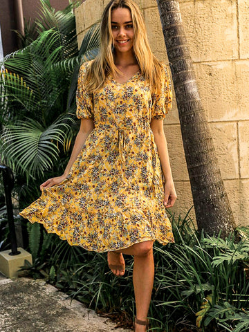 Boho Puff Sleeve sunshine yellow dress