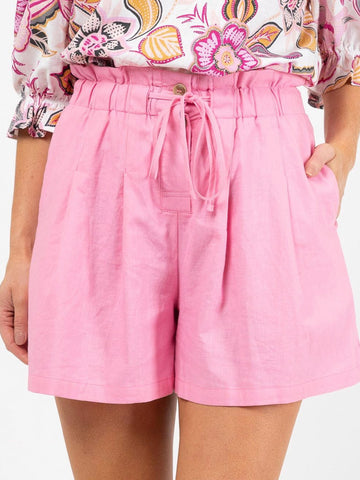 Womens High Waisted Linen Pink shorts