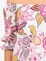 Womens off the shoulder floral top hot pink close up
