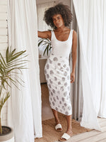 Lou Lou Australia | Whitney Bamboo Long Skirt Platinum Dot White