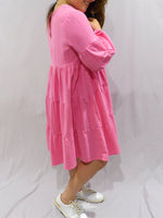 Lulu Locco Tiered Dress Hot Pink