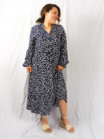 Lily spot midi button shirt dress
