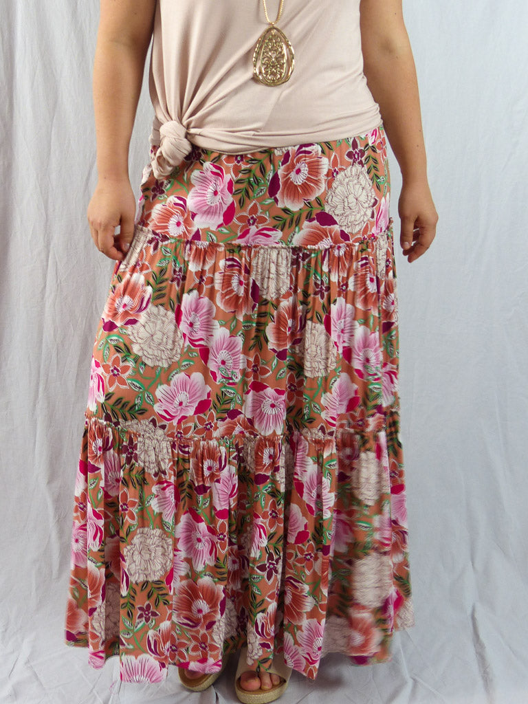 Ebby and I Alyssa Bloom Tiered Skirt Pink