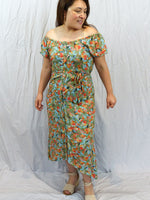 Sanctum the label Adventurer Off the shoulder dress green red yellow blue flowers