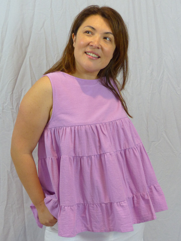 Lulu Locco Tiered Lilac Linen Top