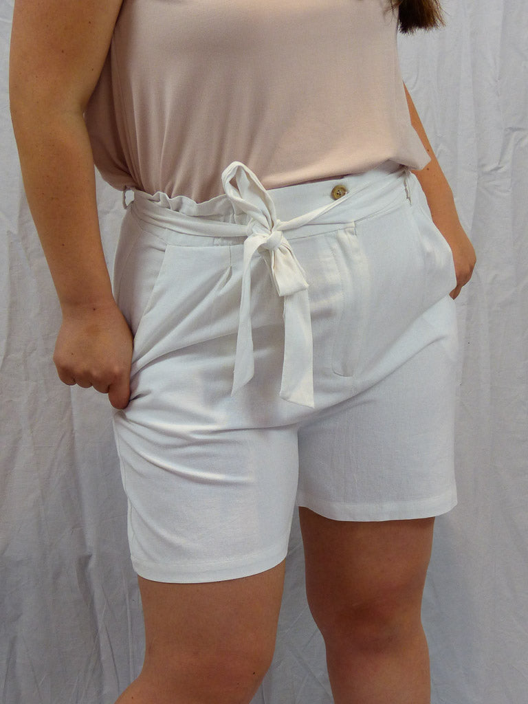 White Paperbag High Waist Shorts