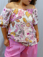 Womens off the shoulder floral top hot pink front