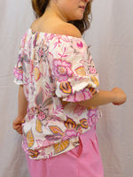 Womens off the shoulder floral top hot pink side