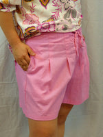 Womens high waist loose fit shorts hot pink linen blend side