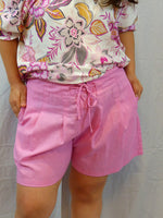 Womens high waist loose fit shorts hot pink linen blend front