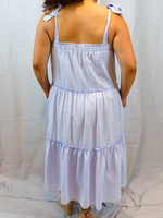 Womens cotton loose fit tiered dress tie straps light blue back
