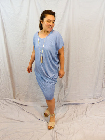Lou Lou Australia Nora Bamboo Dress Denim Marle Front
