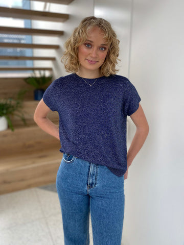 Frankie's Melbourne | Lurex Navy Blue Knit Top