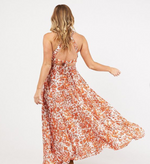 Summer Open Back Maple Orange Maxi Dress
