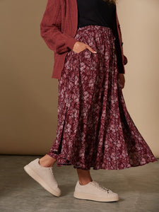 Spendor Cherry Burgandy Maxi Floral Boho Skirt