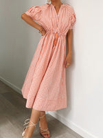 Amalie Gingham Midi Neutral Drawstring Dress Amorini The Label