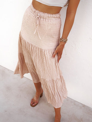 Tasha Tiered Maxi Skirt Blush