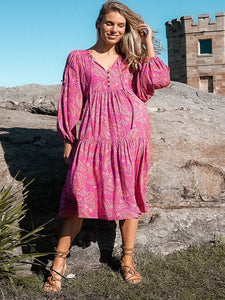 Lilian Midi Boho Paisley Dress Pink and Purple