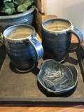 These pottery mugs are locally made. Each piece is unique to the next.