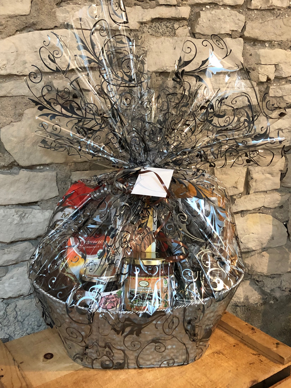 This Thinking of You Gift Basket is a perfect way to send your love for those grieving or ill. Locally roasted coffee, tea, local jam, crackers, cookies, tortilla chips, salsa, and more.