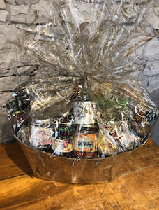 Taste of Guelph Gift Basket with items from Guelph and area including locally roasted coffee, honey, jam, fudge, mustard, syrup, crackers and more.