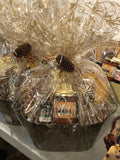 Gourmet Snack Gift Basket with local salsa, tortilla chips, crackers and chutney, fudge, cookies and more.