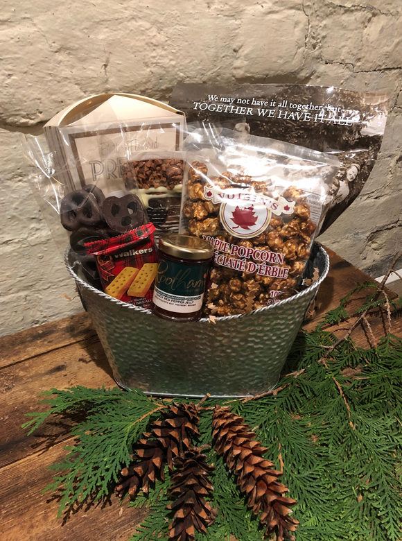Festive Holiday Gift Basket. Local chutney, chia crisps, maple popcorn, chocolate pretzels, shortbread and more.