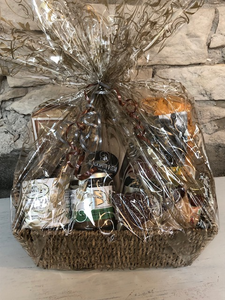 Backyard Gift Basket with local BBQ sauce, tortilla chips, salsa, garlic scape sea salt and more.