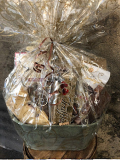 Chocolate Lover Gift Basket filled with local fudge, chocolate pretzels, truffles and more.
