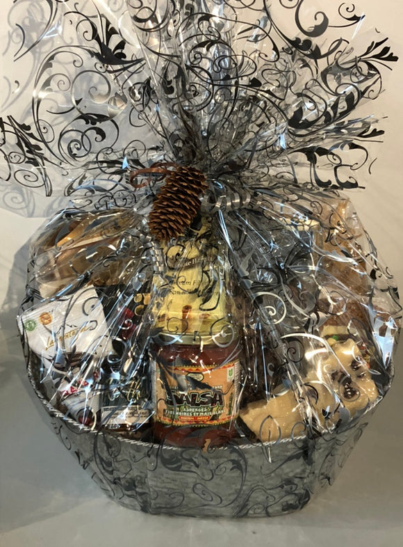 Gourmet Snack Gift Basket is filled with local tortilla chips and salsa, crackers and chutney, fudge, chocolate pretzels, cookies and more.