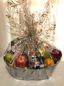Gourmet Fruit Basket has a selection of fruit mixed with local crackers, jam, cookies, tea and more.
