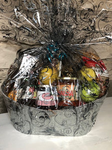 This Thinking of You Gift Basket is a perfect way to send your love for those grieving or ill. A selection of fruit mixed with local jam, crackers, cookies, tortilla chips, salsa, tea and more.
