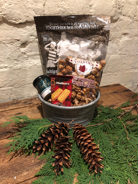Festive Holiday Gift Basket. Local chutney, chia crisps, maple popcorn and shortbread cookies.