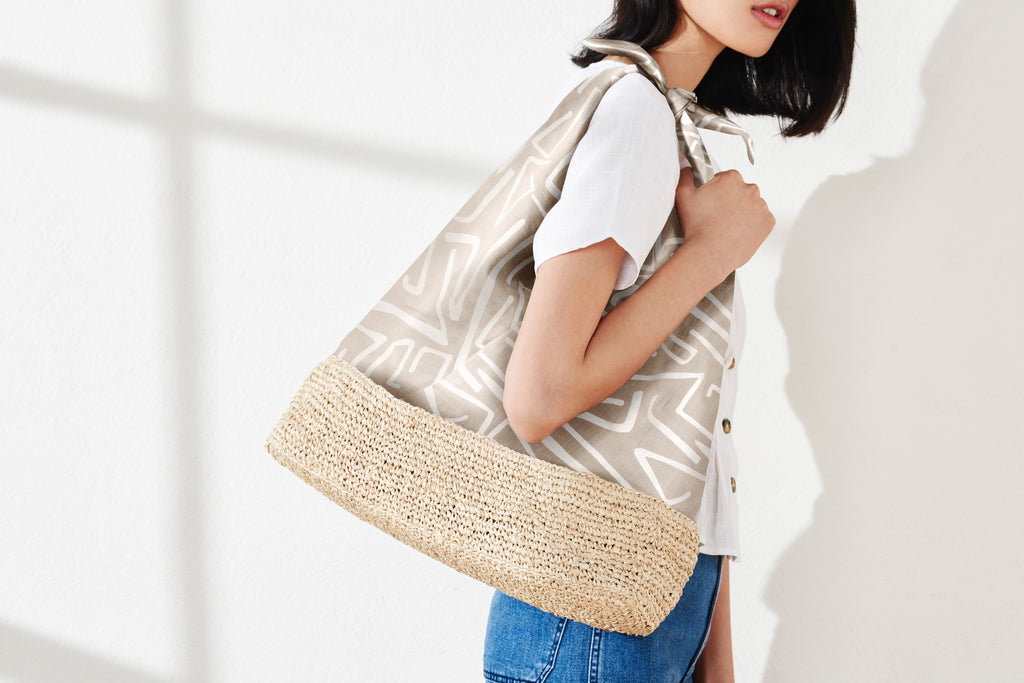 Lula Raffia-Trimmed Tie-Handle Tote