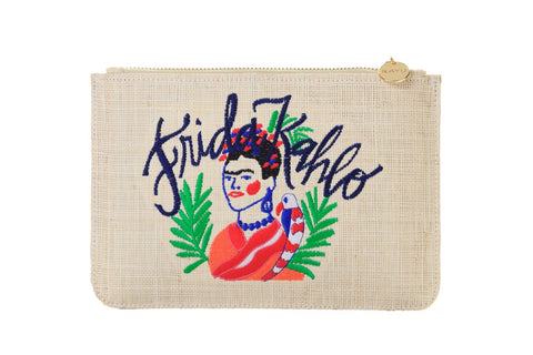 Frida K Raffia Clutch Bag