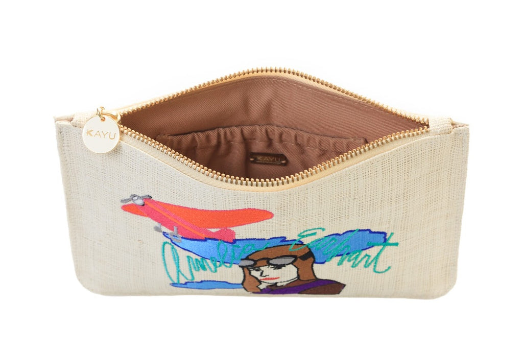 Amelia E Straw Clutch Bag