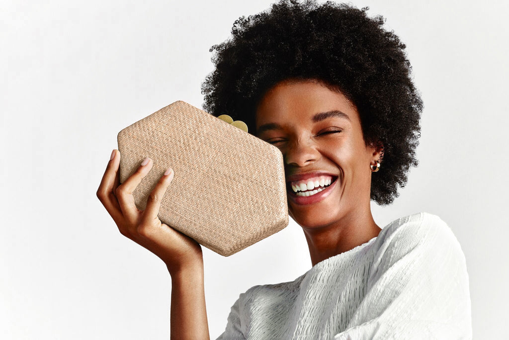 KAYU Straw Clutch Bag Arianne Natural Model