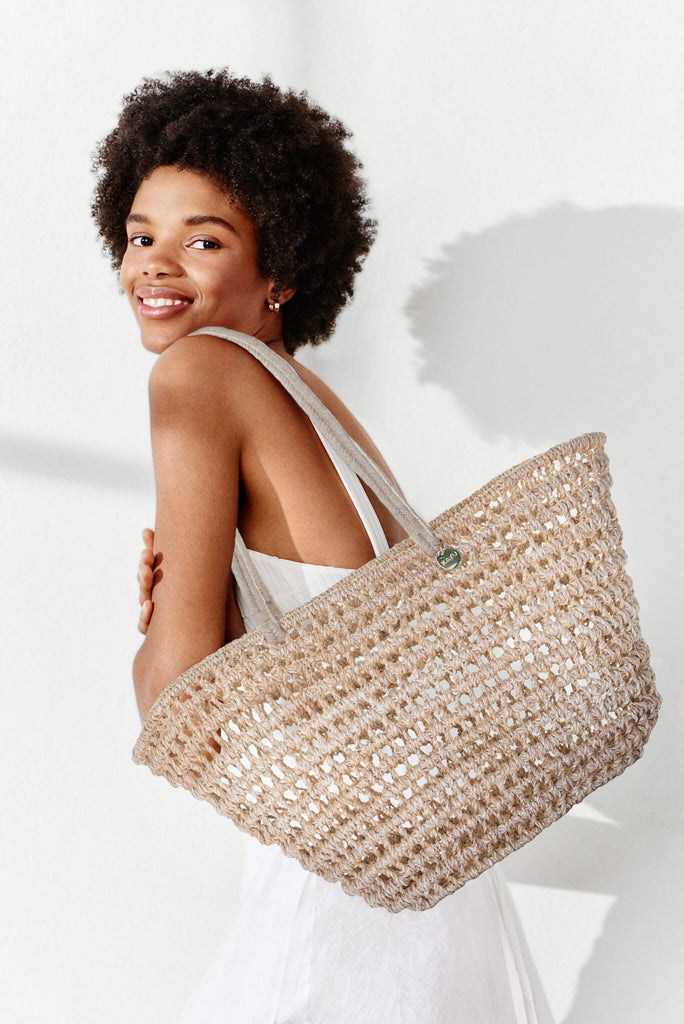 Kayu Straw Beach Bag Jean Natural Model