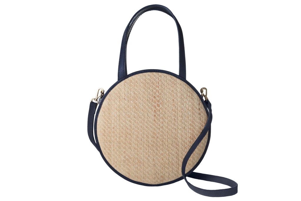 Carrie Woven Straw Leather-Trimmed Bag