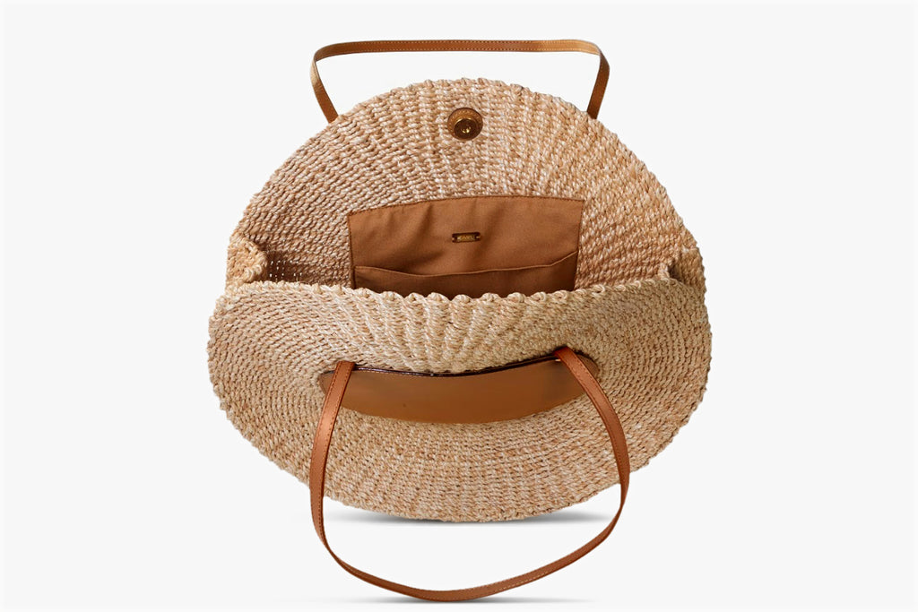 Belen Leather Trimmed Woven Straw Tote