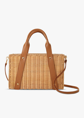 Daisy Leather-Trimmed Wicker Tote