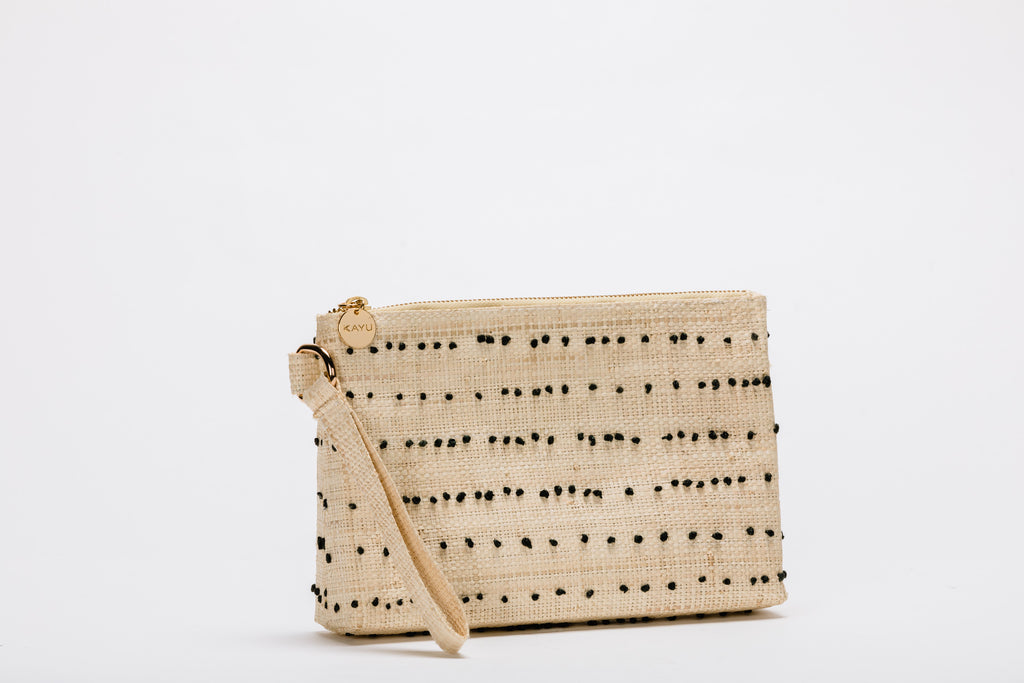 June Straw Wristlet Pouch Bag