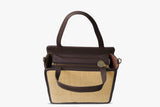 Kessie Leather Trimmed Woven Straw Bag