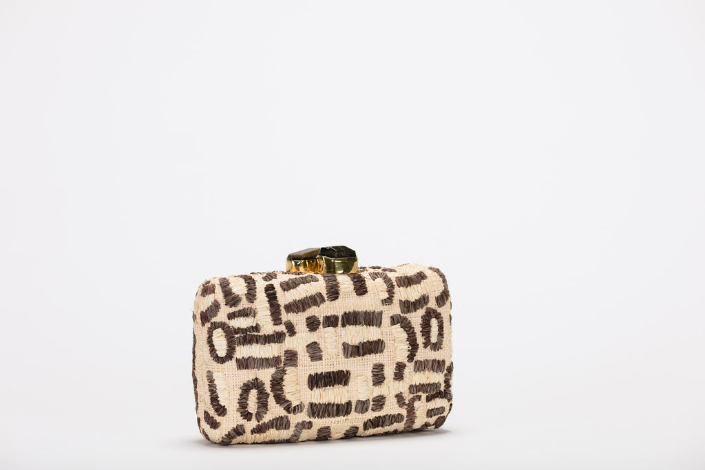 Lyon Embroidered Raffia Clutch Bag