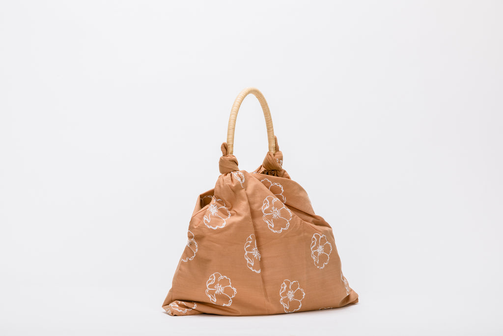 Mae Cotton Rattan Top Handle Bag