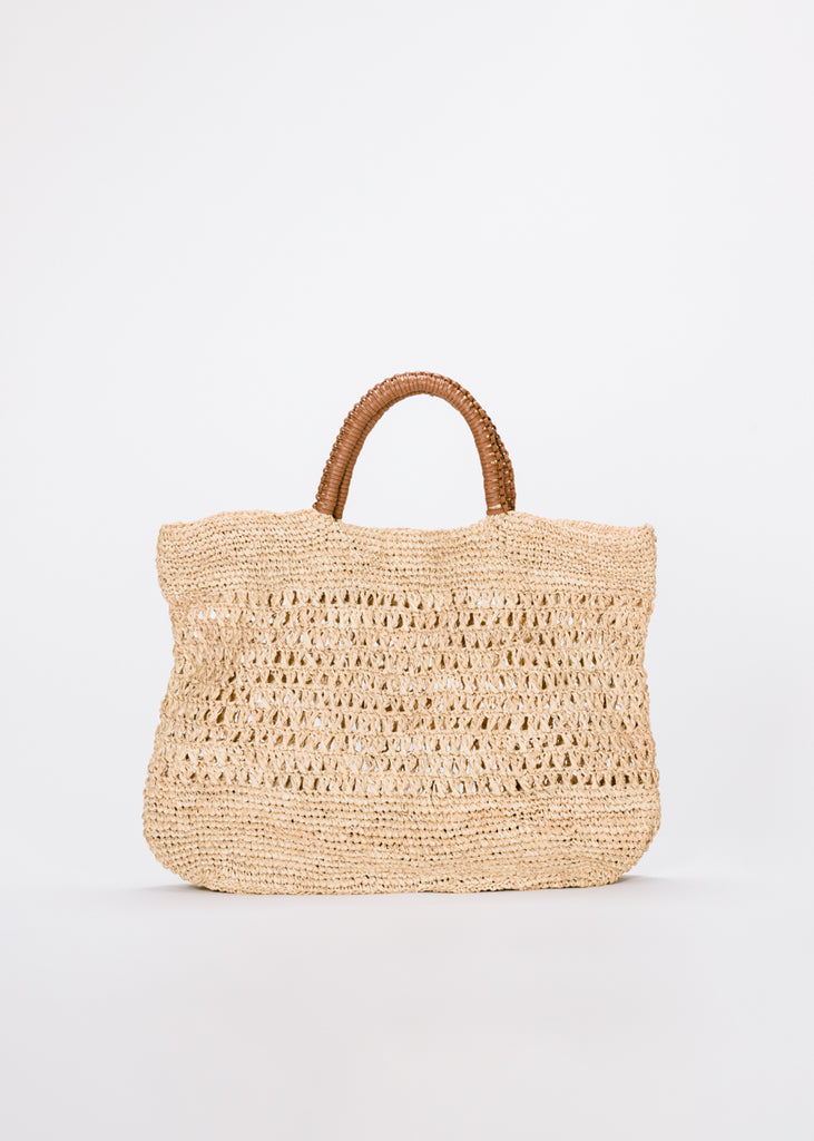 Mara Leather Handle Straw Tote