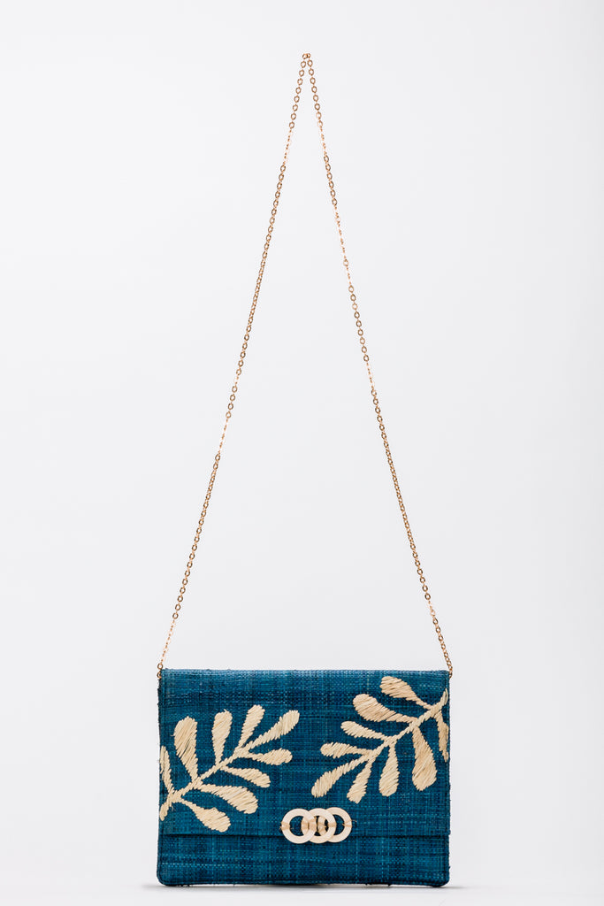 Nadya Embroidered Straw Clutch Bag