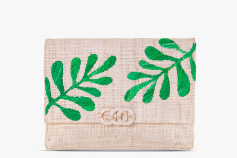 Nadya Embroidered Raffia Clutch Bag